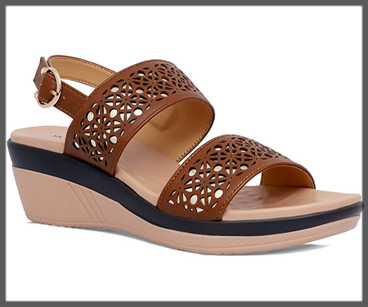 hollow space brown sandals