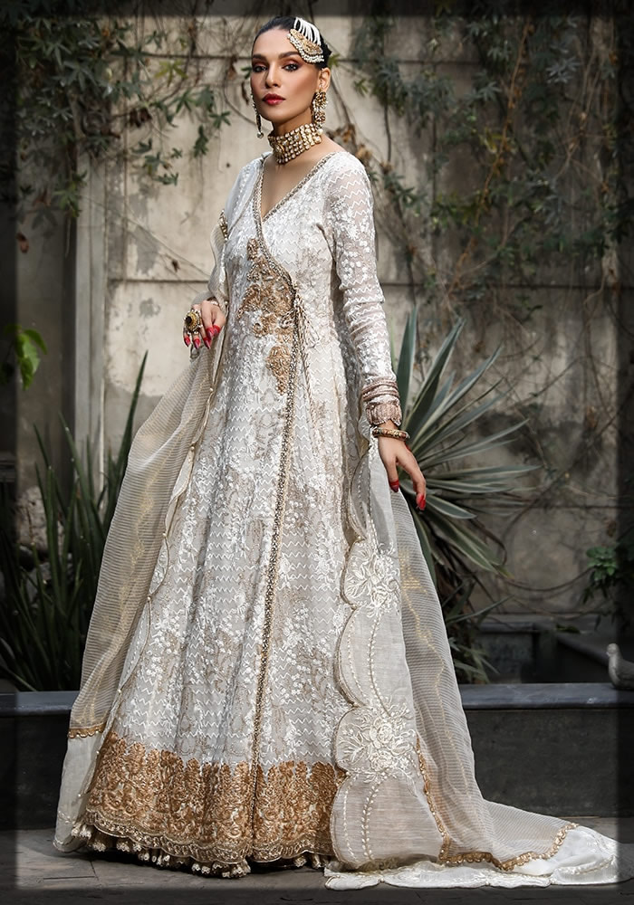 ivory embroidered angrakha frock