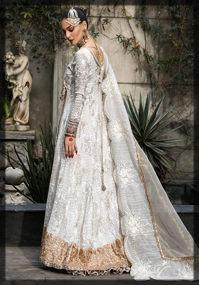 ivory embroidered cotton net angrakha frock
