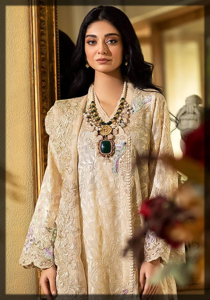 karandi silk beige embroidered suit