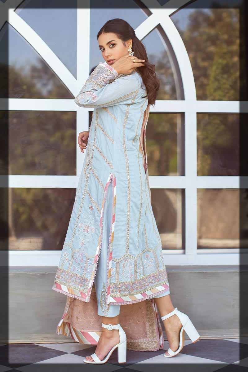 light blue embroidered dobby lawn suit