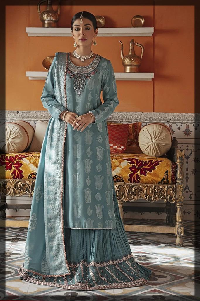 light sea gren jacquard dress
