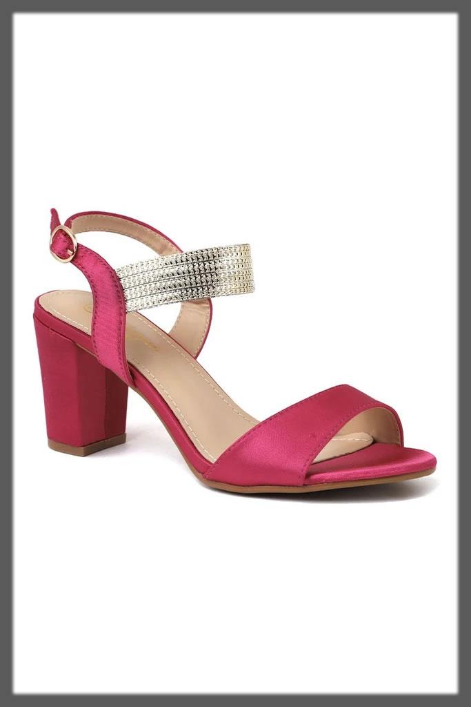 maroon chunky heels for teens