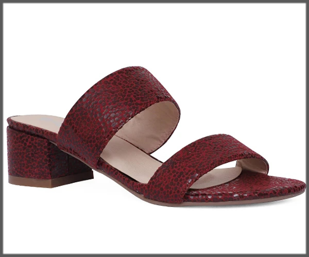 maroon open back heels