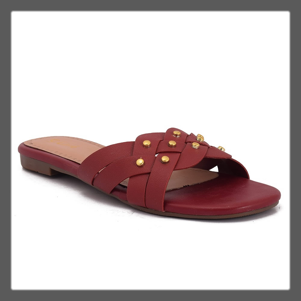 maroon studded slippers