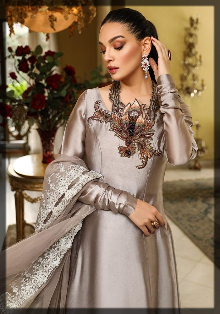 metallic grey silk dress