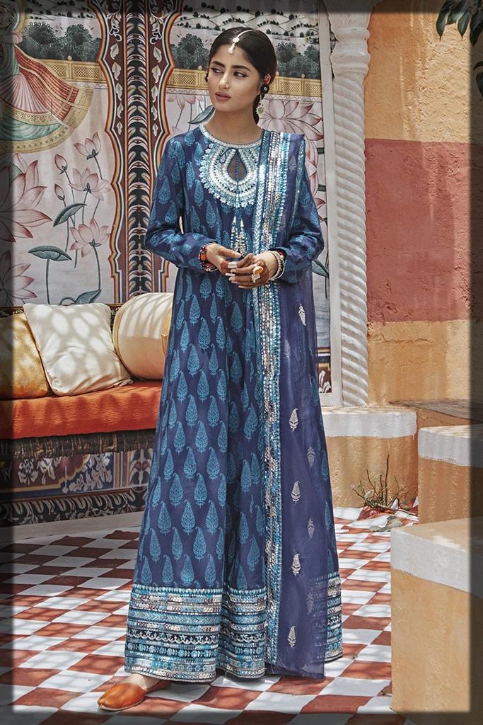 midnight blue jacquard dress