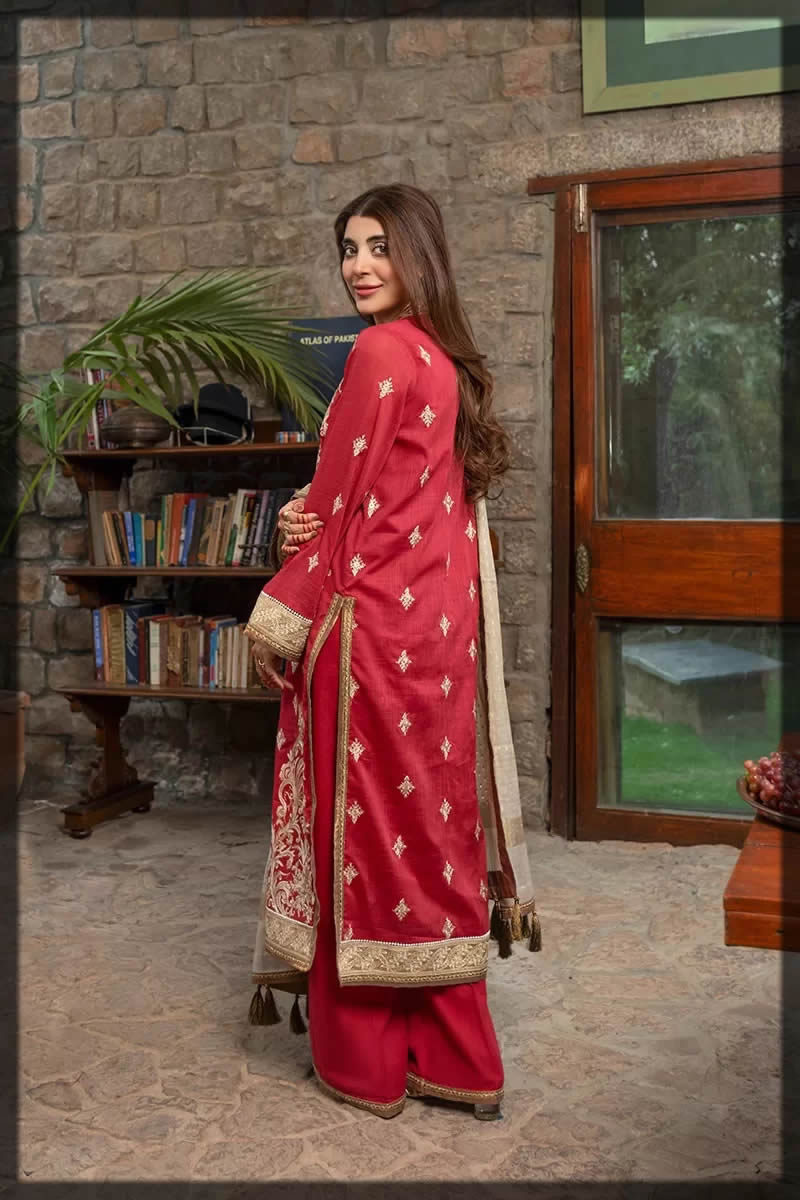 rang rasiya red golden eid wear