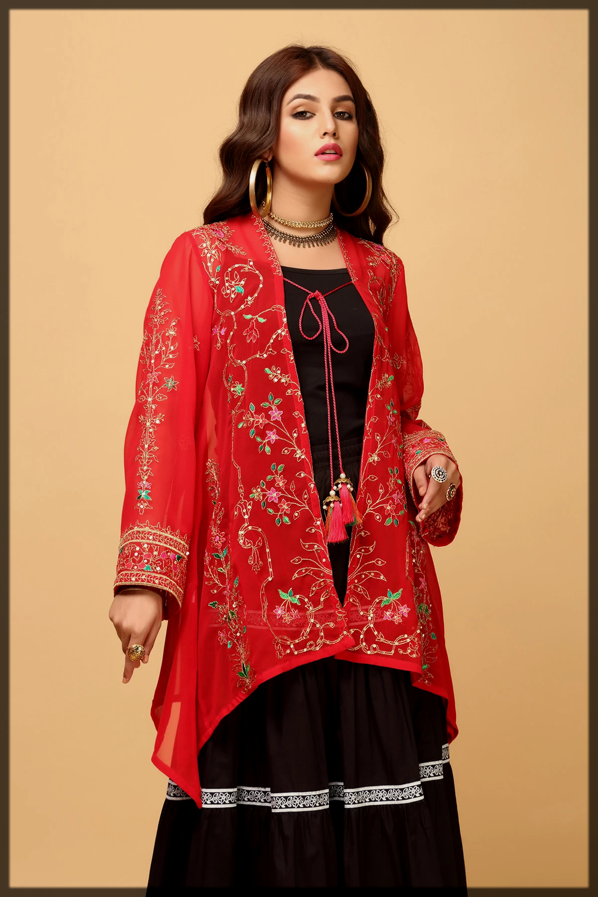 red and black eid suit by rang ja