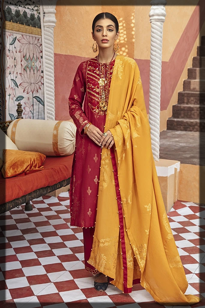 red and yellow eid dress