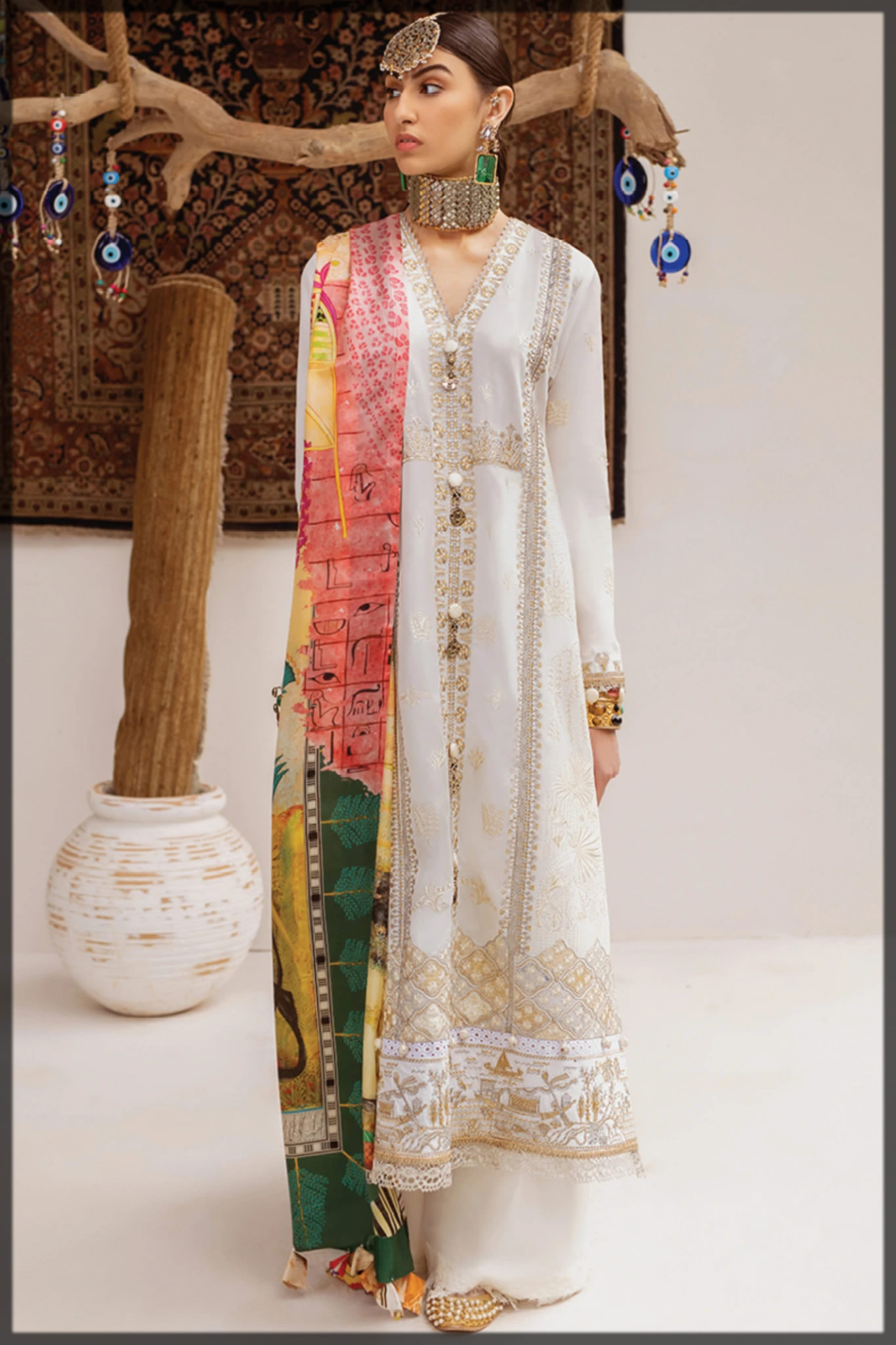 royal elegant white embroidered suit