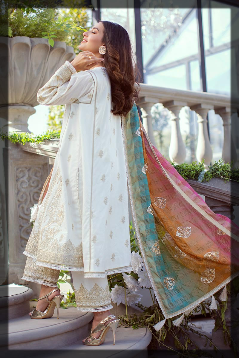 sequin embroidered white dobby lawn suit
