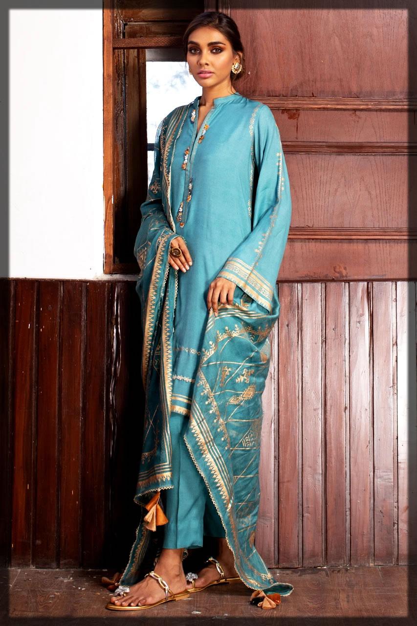 sky blue eid dress for women
