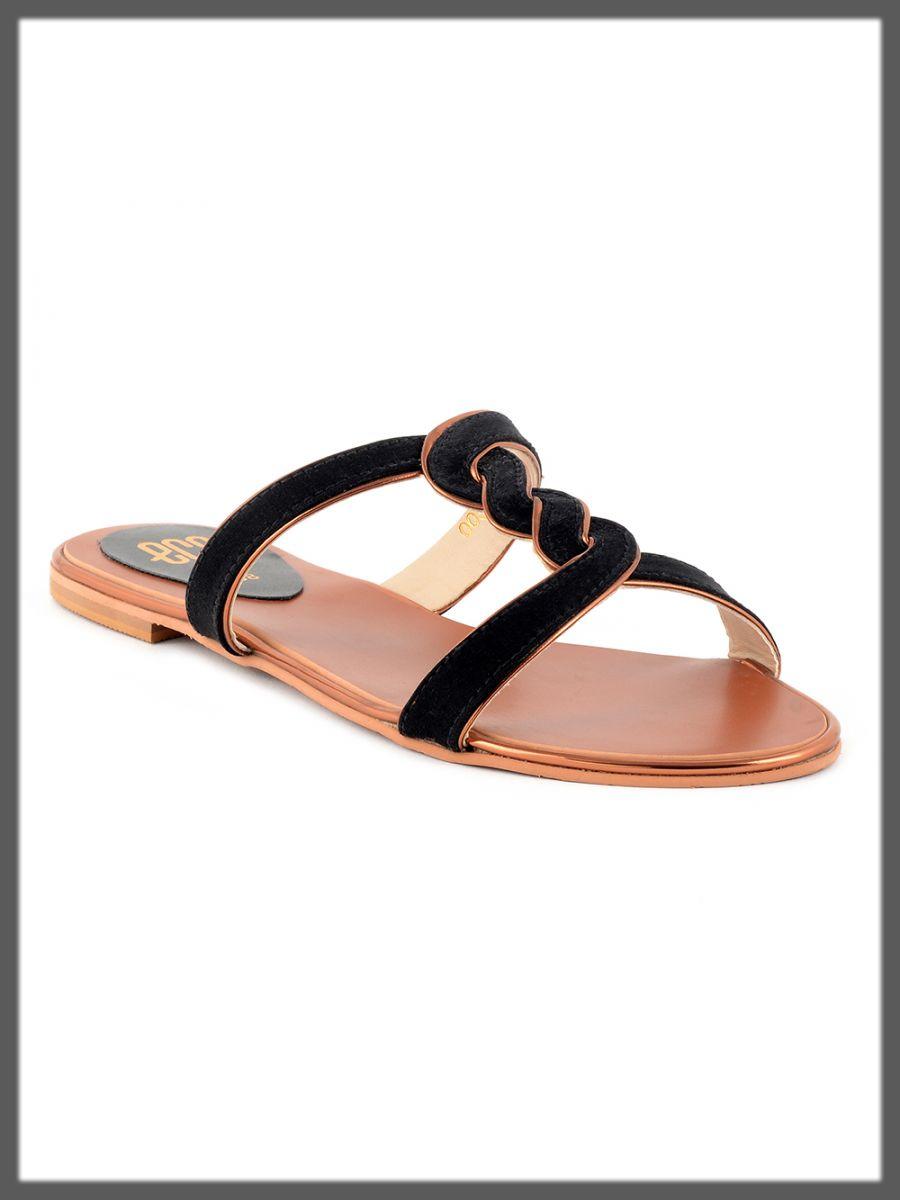 sleek black summer slipper for women