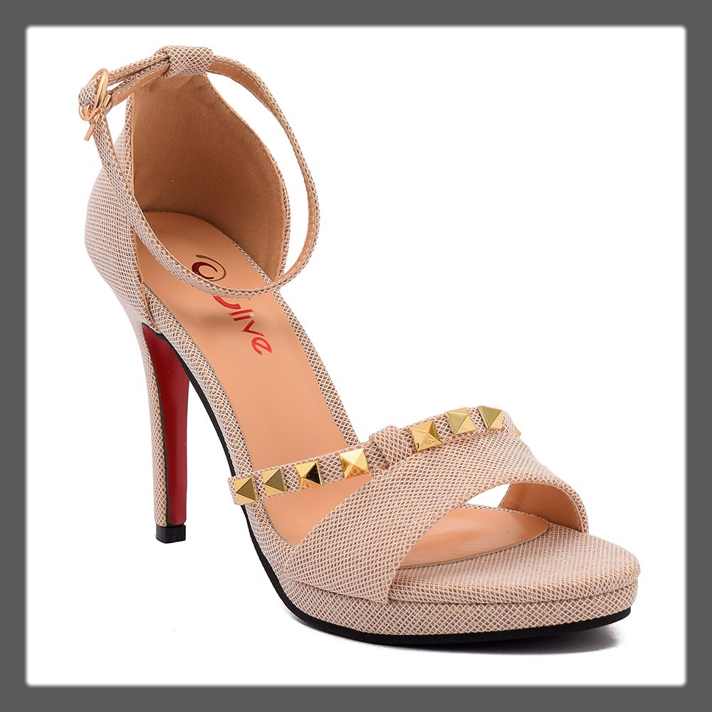 studded beige pointed heels for teens
