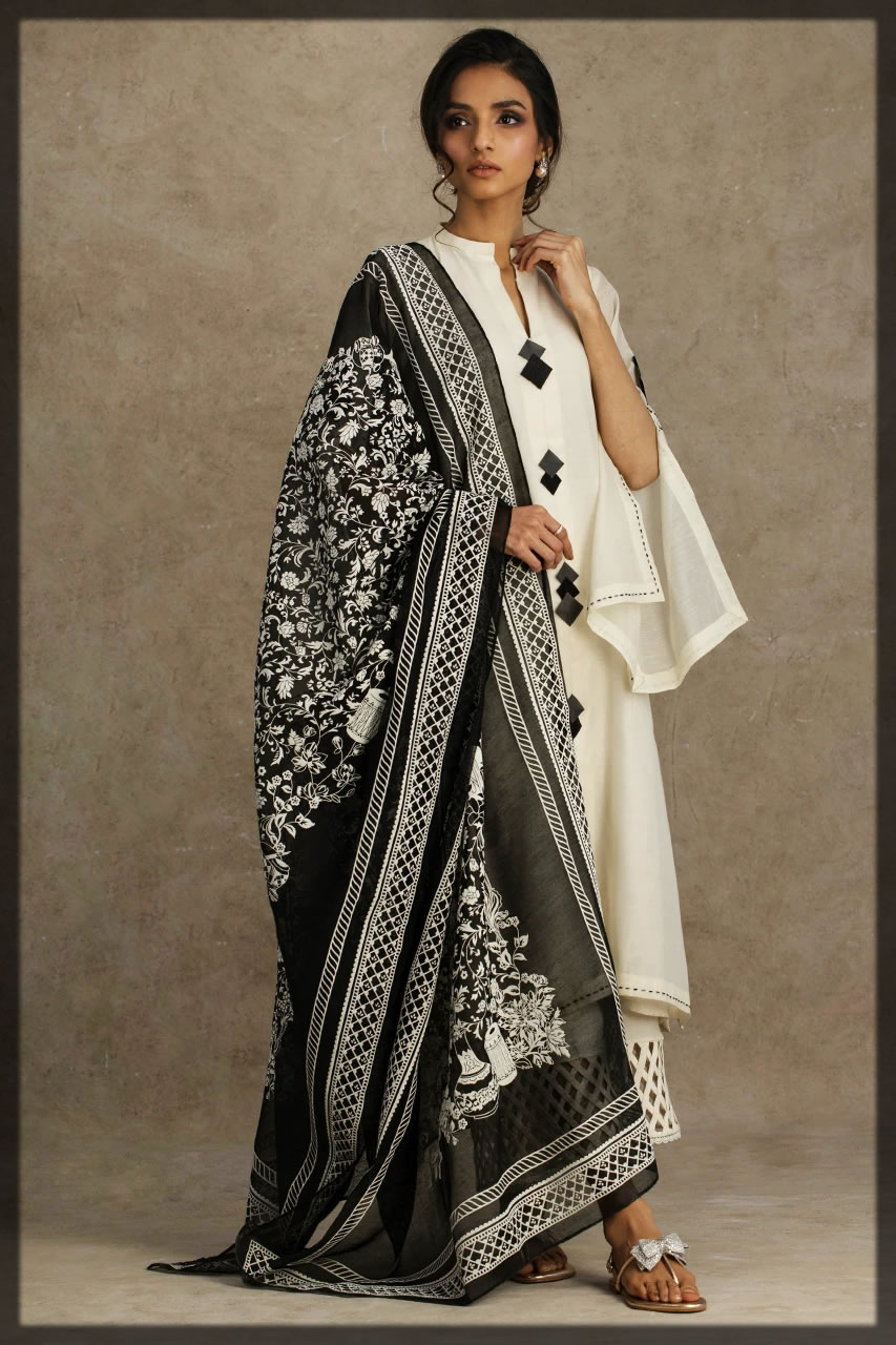 toral ivory embroidered cotton silk suit