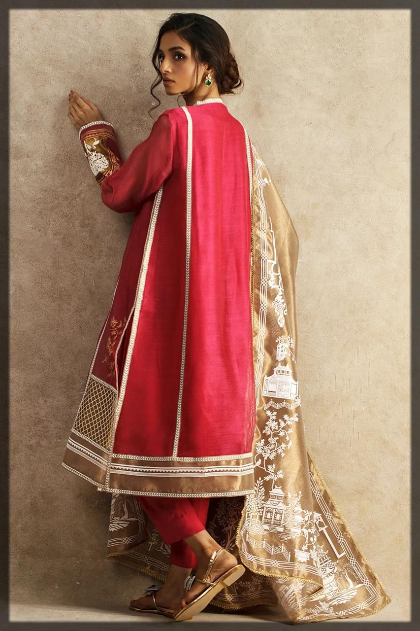 voguish maroon eid outfit
