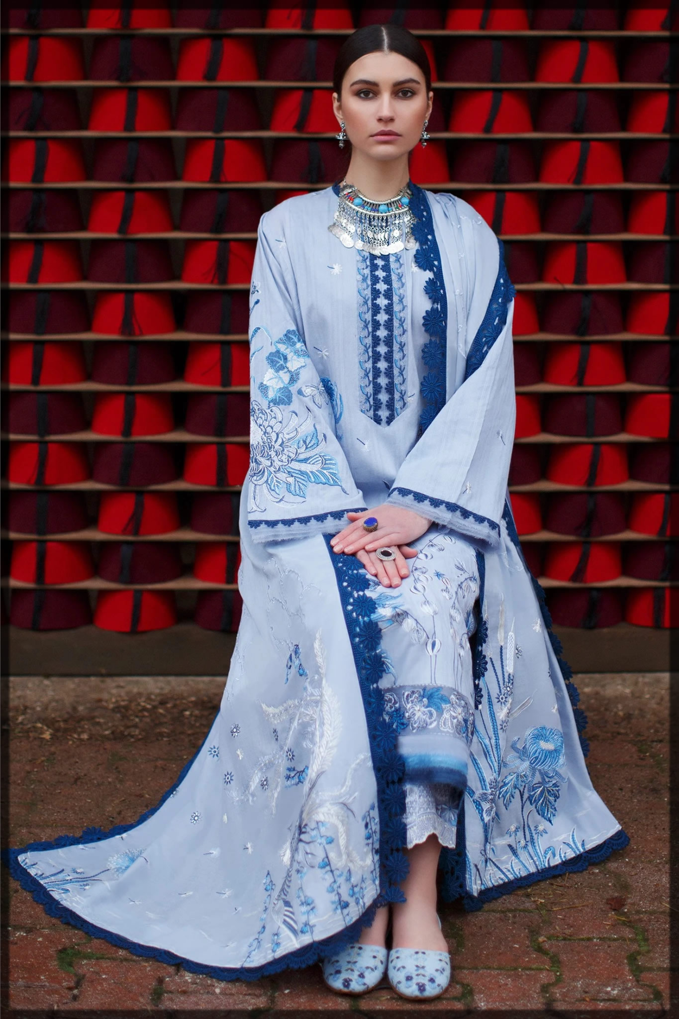 wedgewood blue embroidered dress