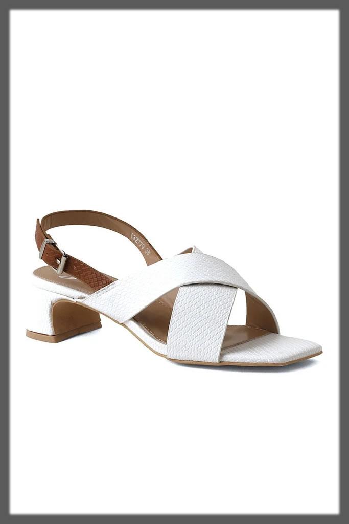 white criss cross sandal heels