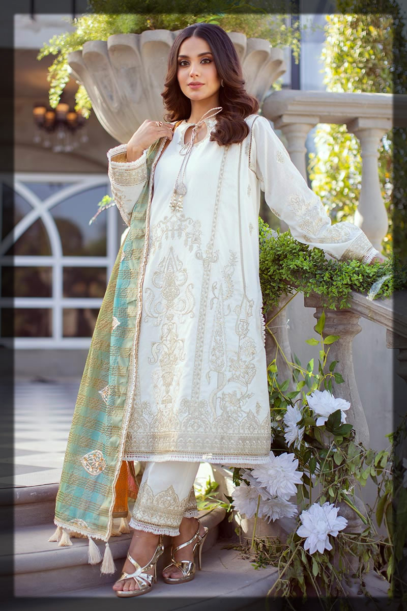 white sequin embroidered dobby lawn suit