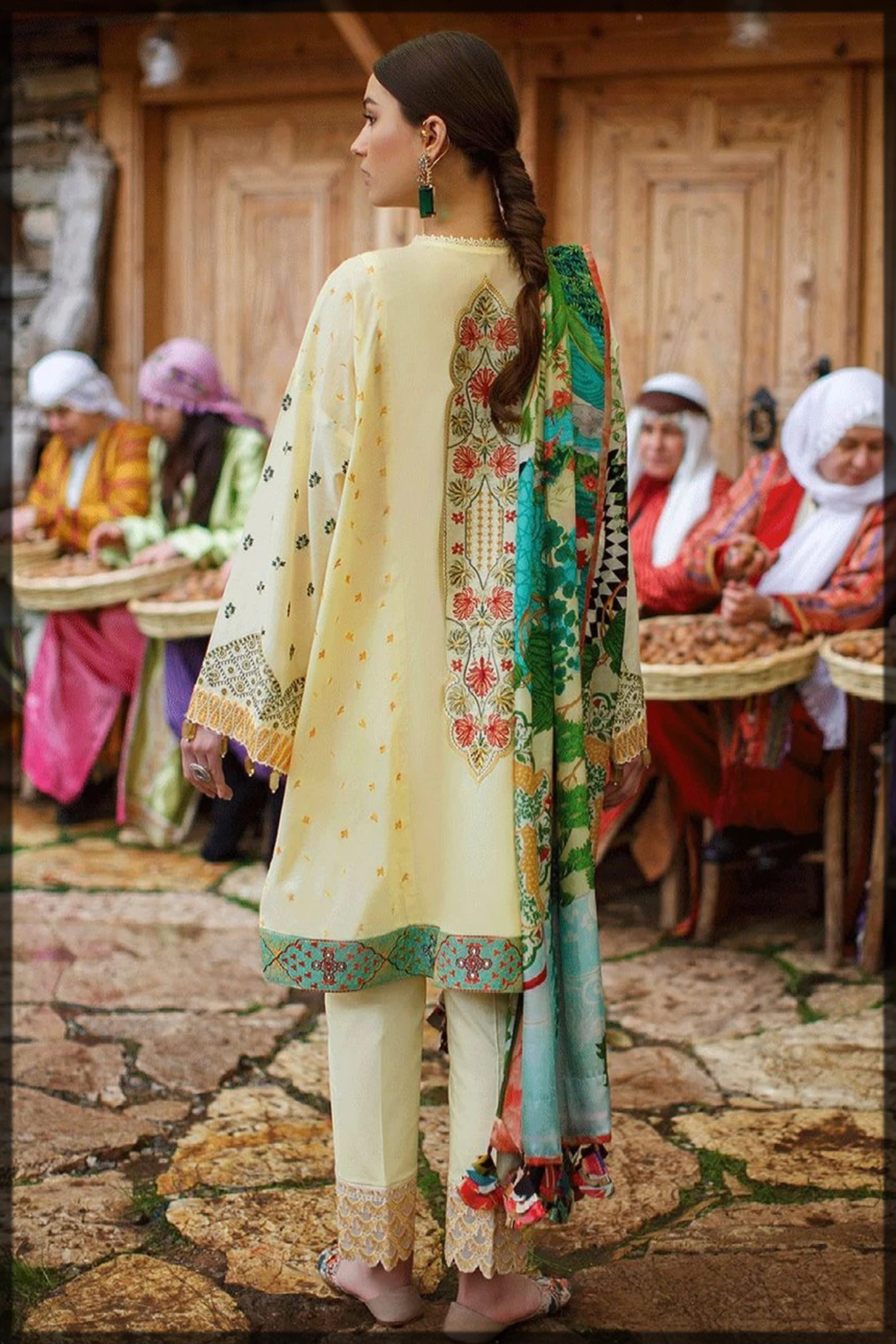 yellow embroidered lawn dress