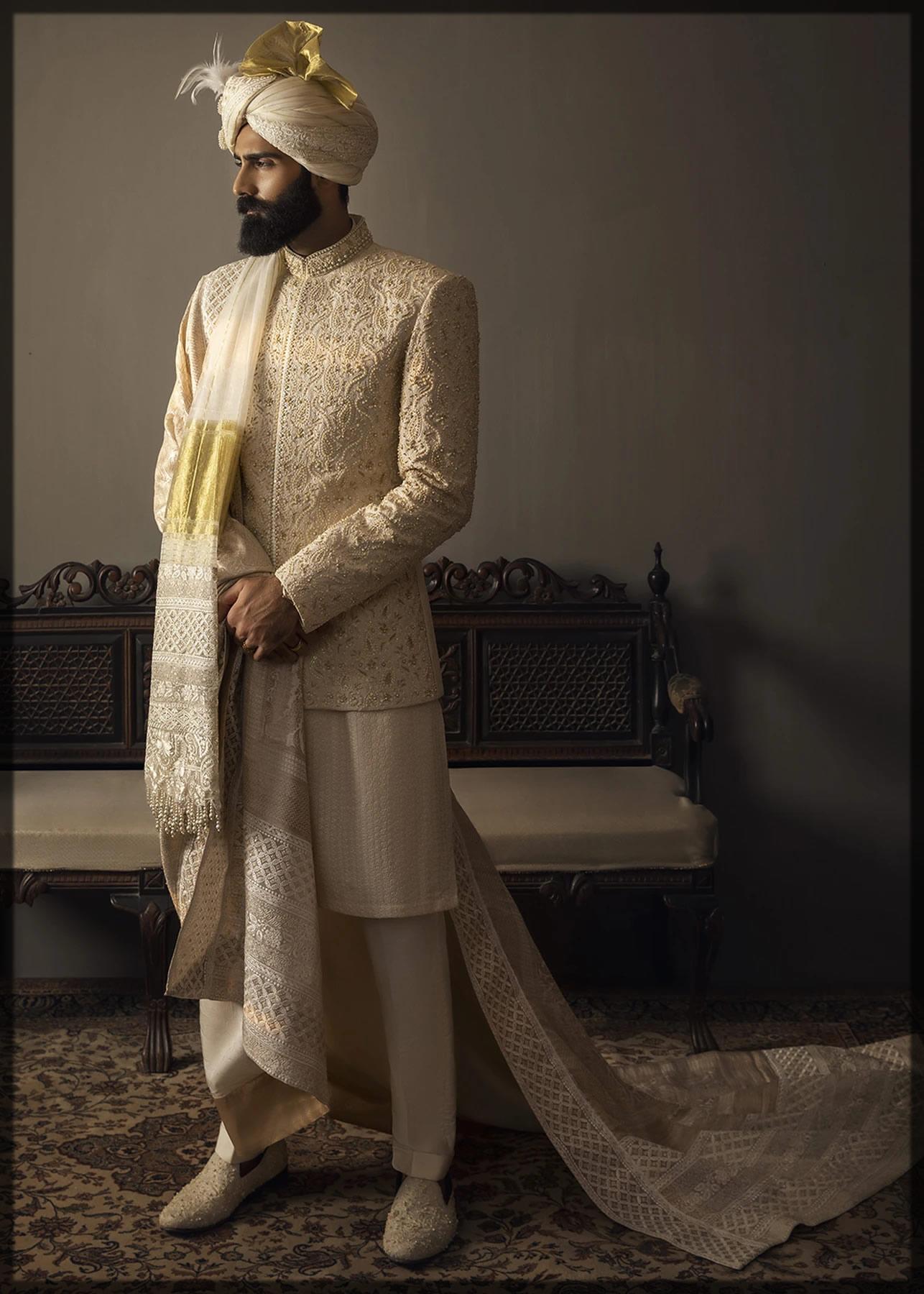 Embellished Cream Prince Coat for Groom