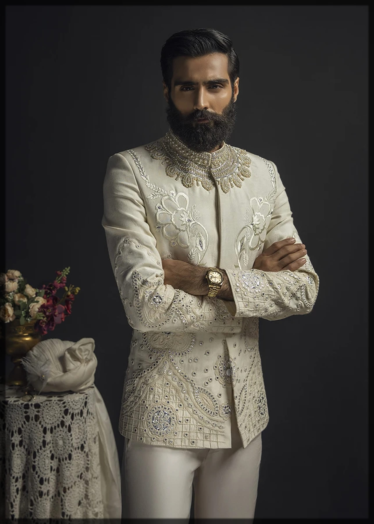 Embellished Optical White Prince Coat