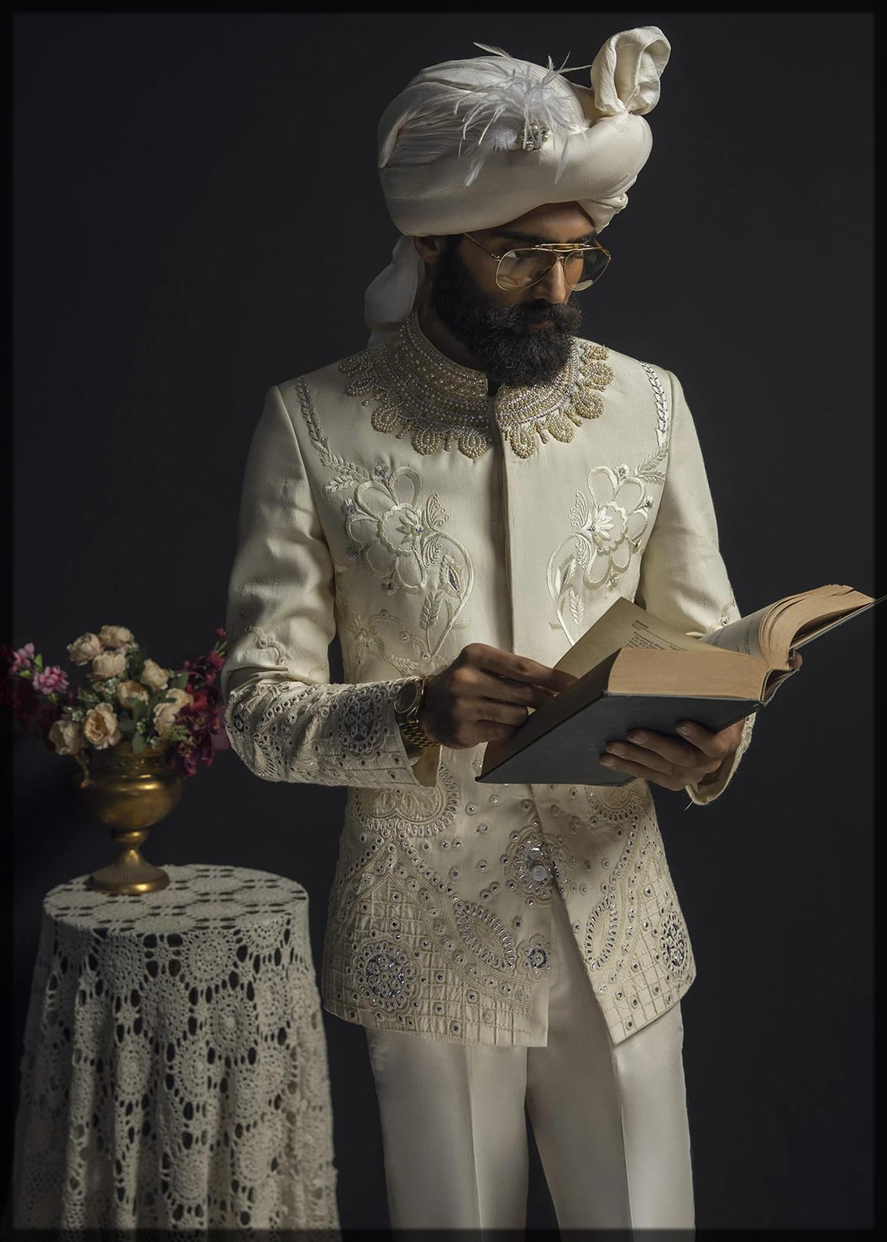 Optical White Embellished Prince Coat