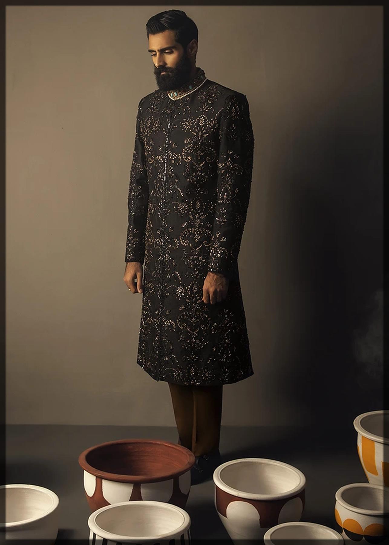 classic black sherwani for groom