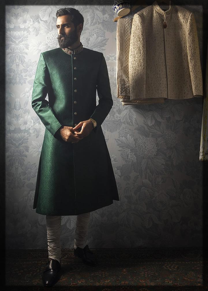 classic emerald green sherwani