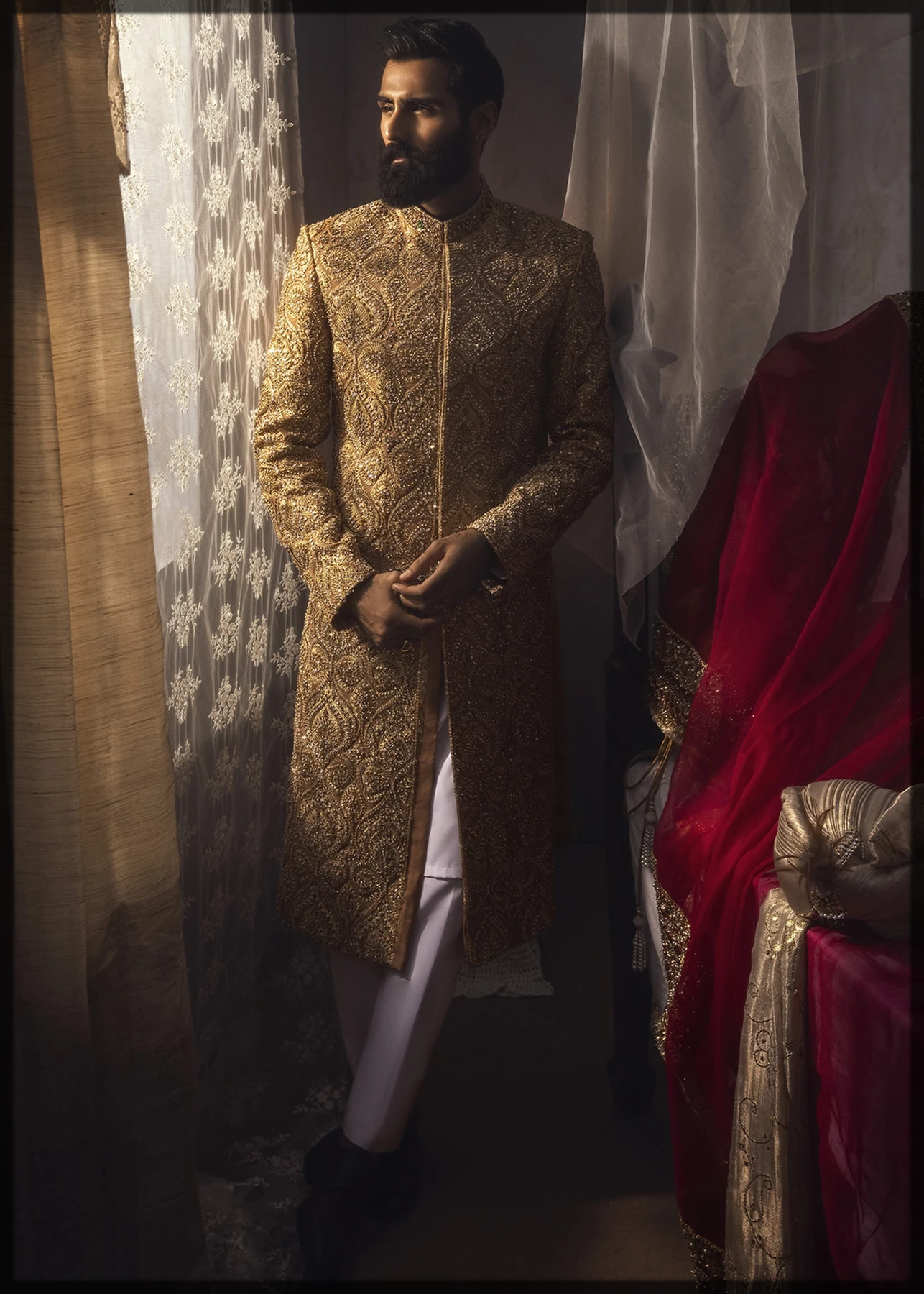 embellished royal gold sherwani