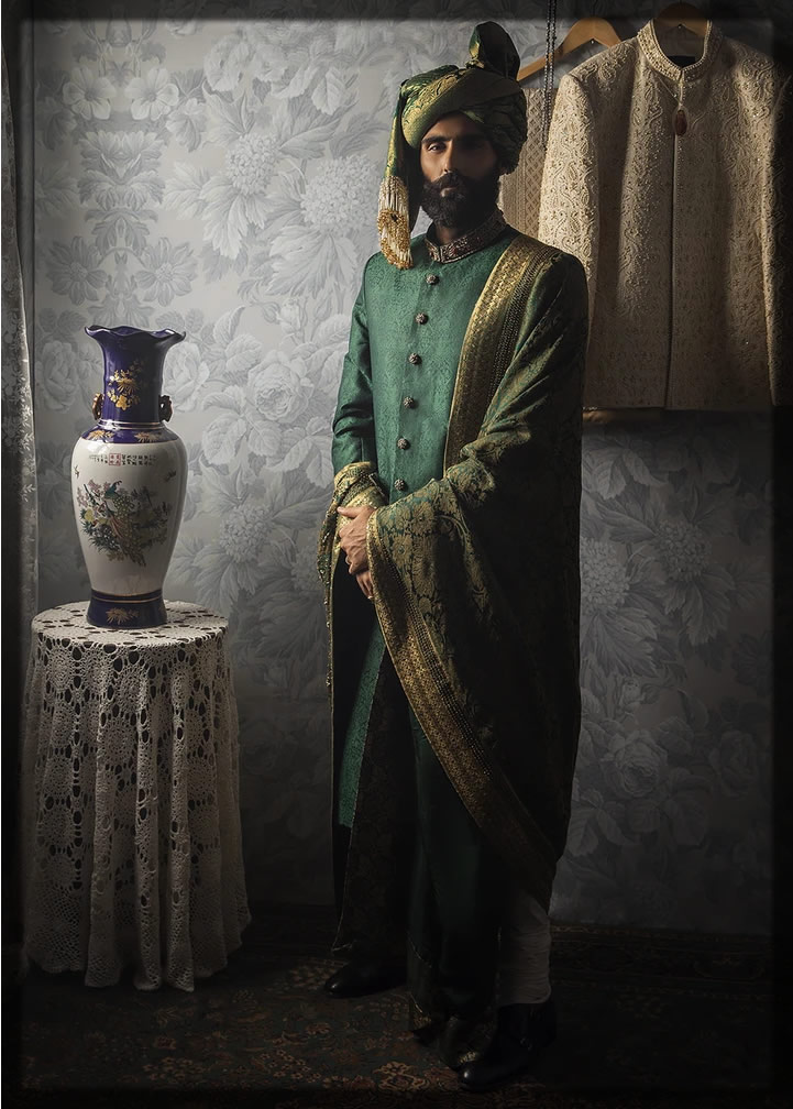 emerald green sherwani