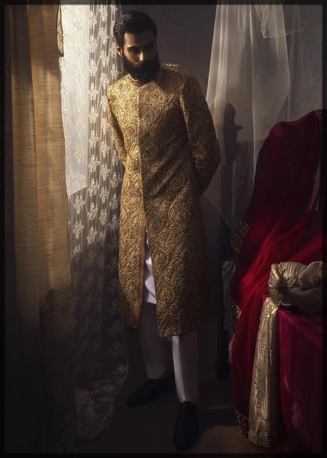 graceful and embellished royal gold herwani