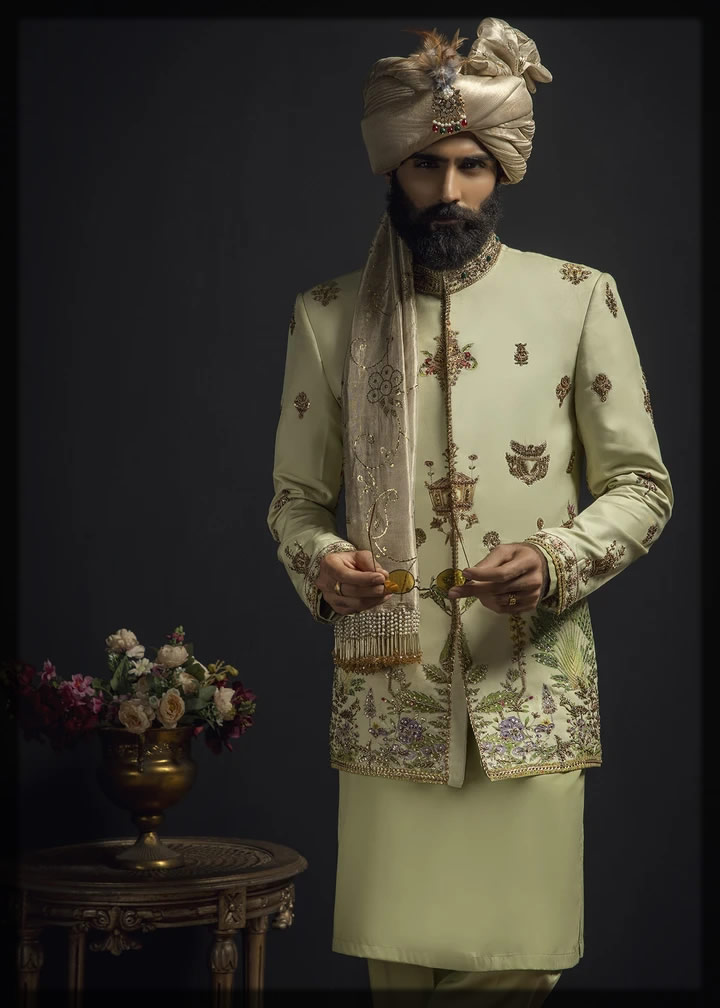 heavily embroidered cream prince coat