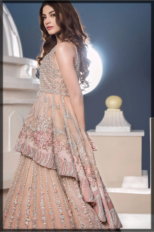 Peach Peplum Style Bridal Outfit