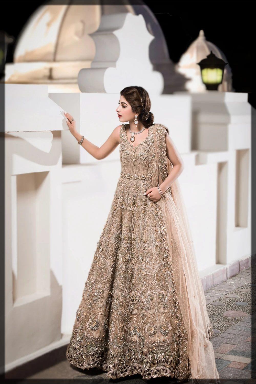 exquisite golden net embellished peshwas