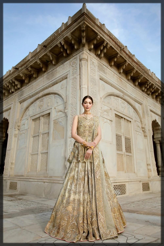 golden embellished peplum style bridal dress