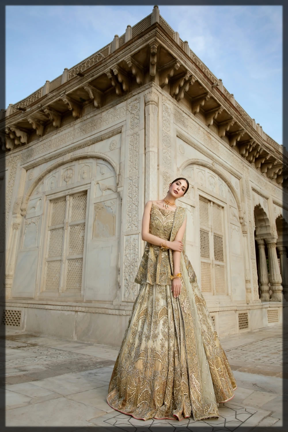 golden embellished peplum style bridal outfit