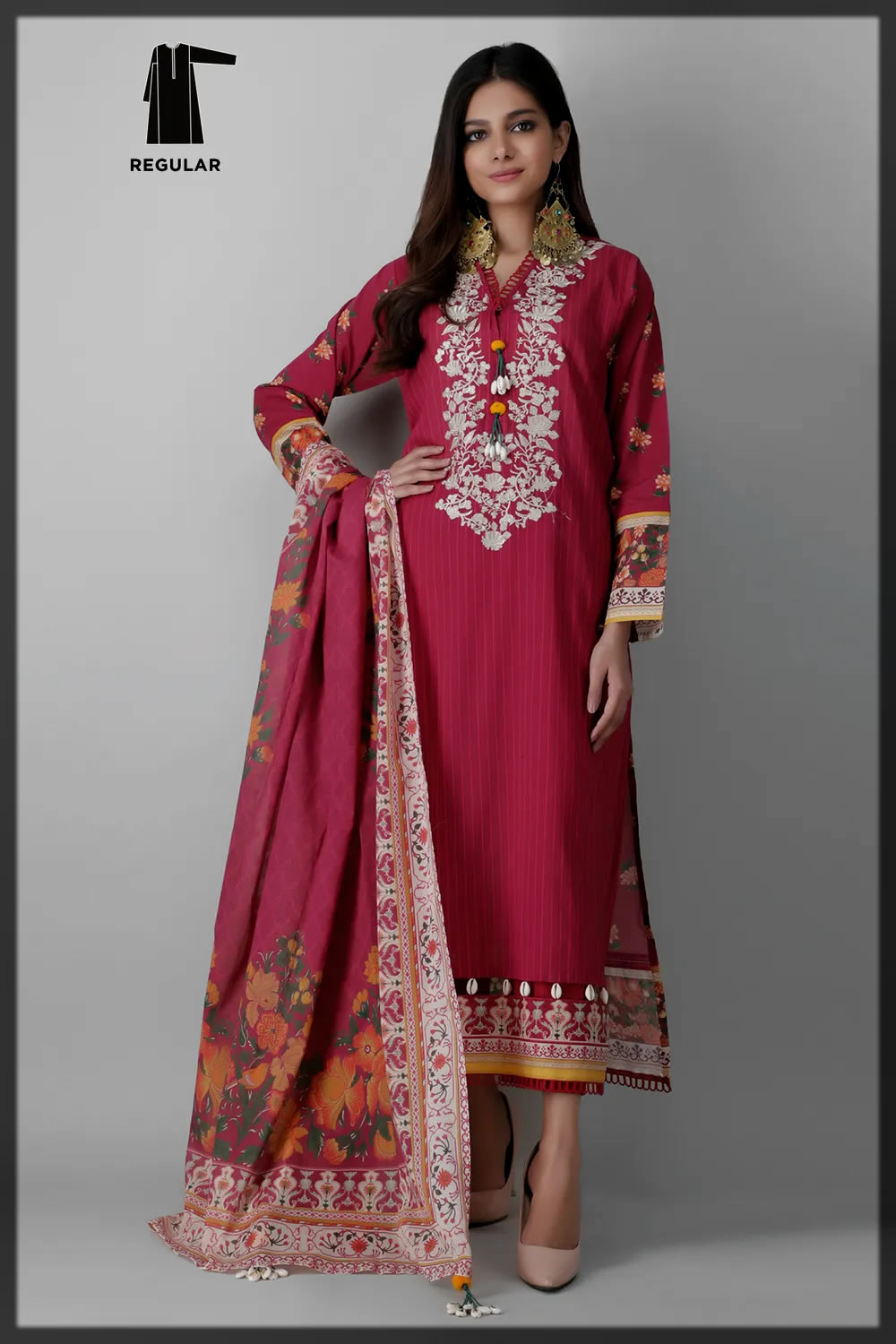 maroon shaded summer eid suit for women