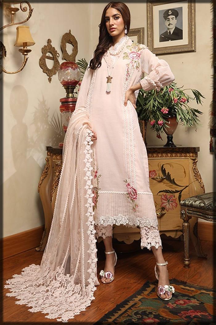 pastel pink cotton net suit