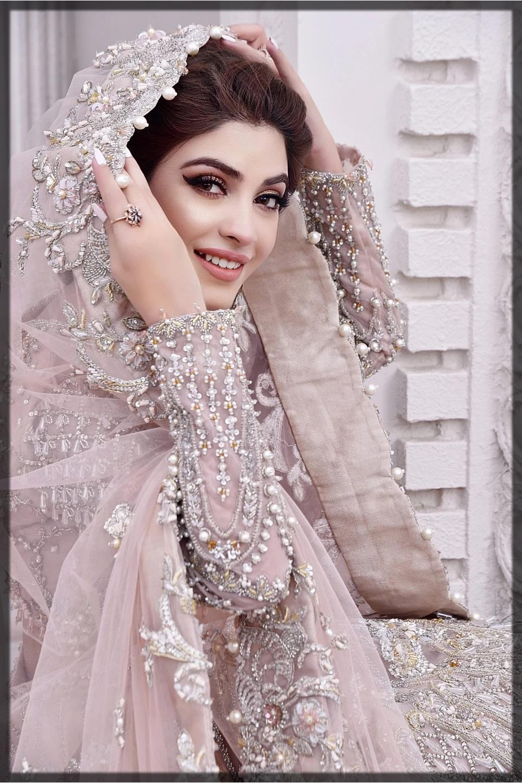 peach embellished bridal walima dress