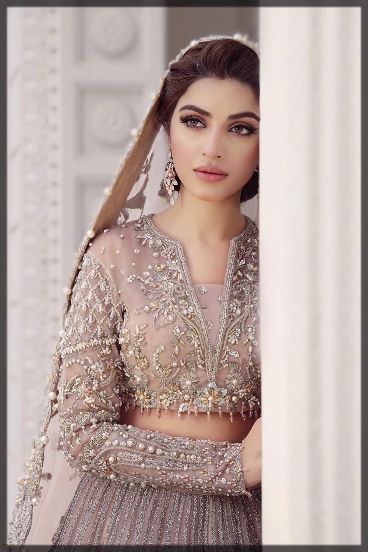 pearl embellished tea pink bridal dress