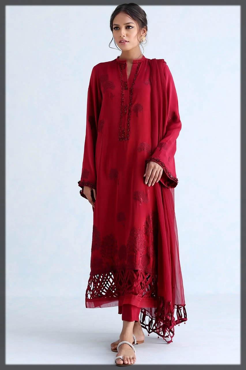 red festive suit