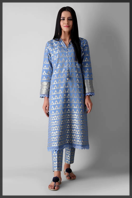 yarn dyed classic kurta for eid by khaadi
