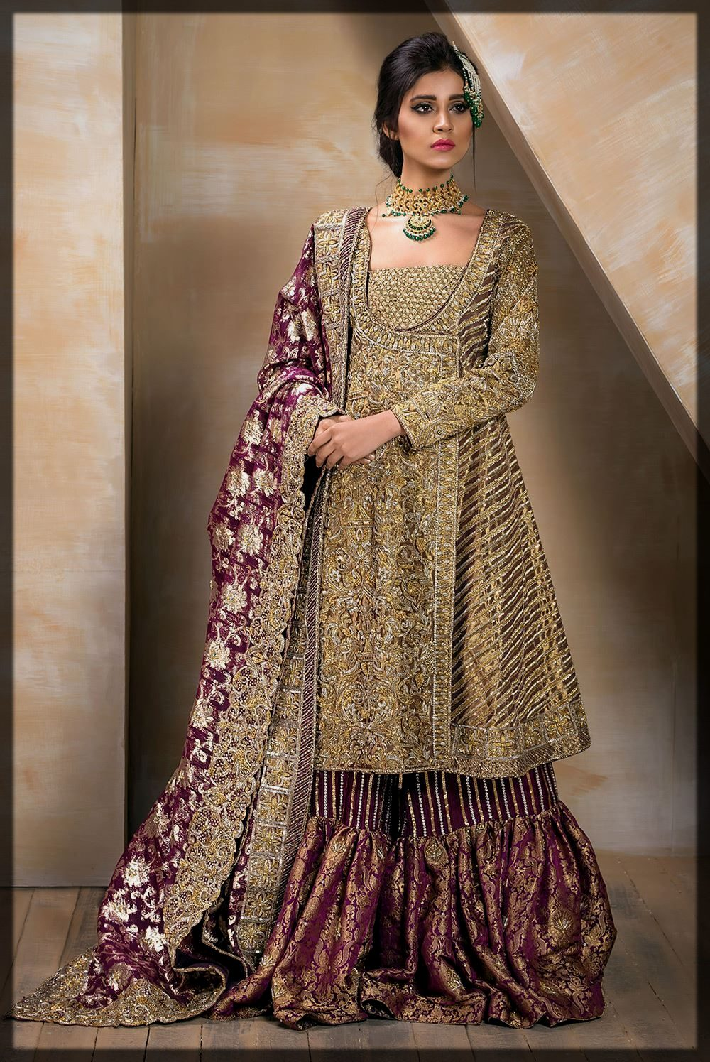 Bronze and Golds Heavily Embellished Mirusah Bridal Outfit