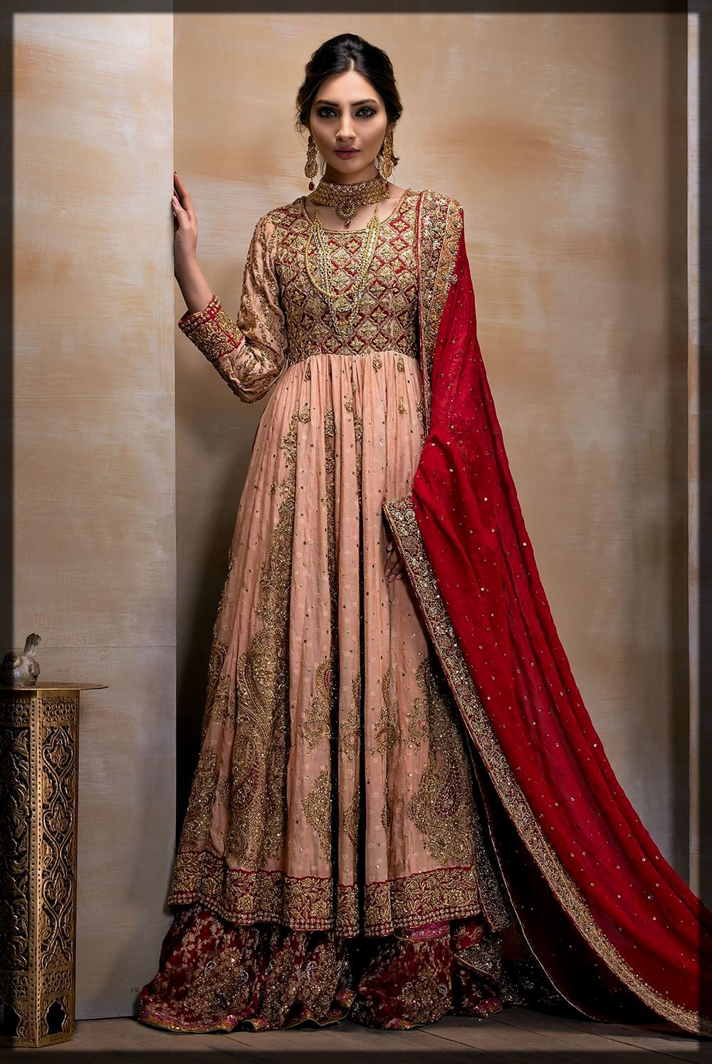 Soft Peach and Deep Red Bridal Barat Outfit