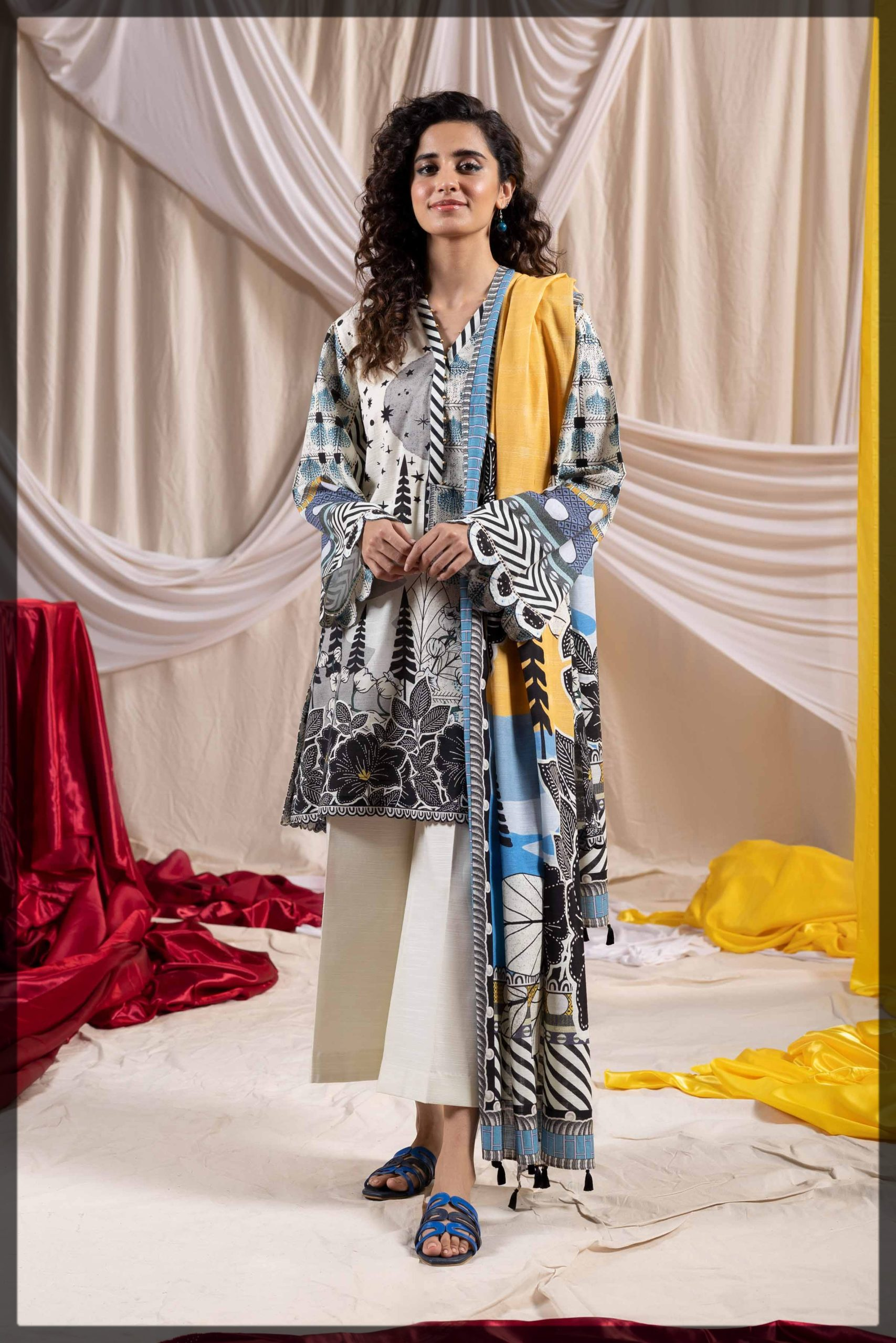 black and white printed two-piece khaddar suit