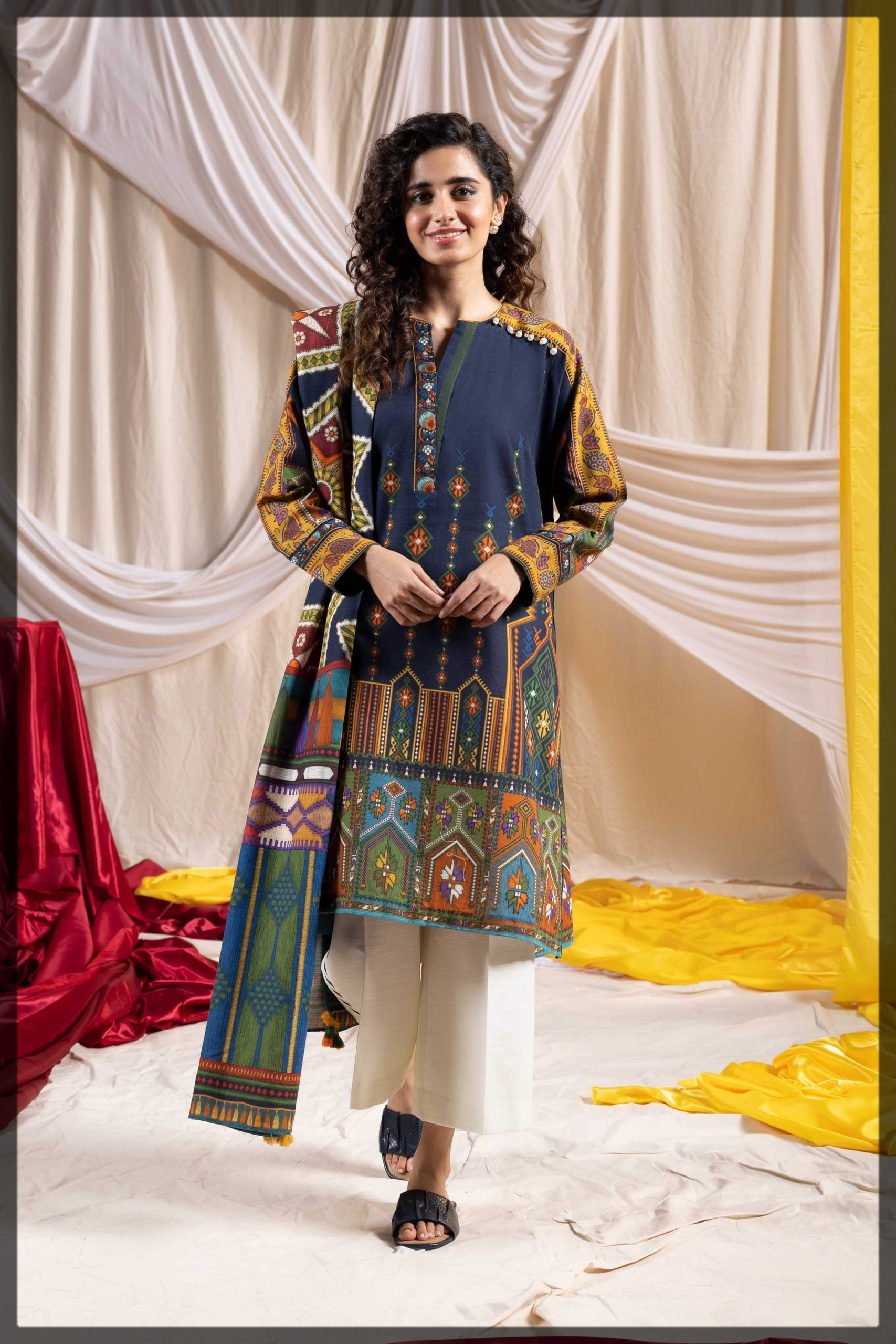 blue printed two-piece khaddar suit