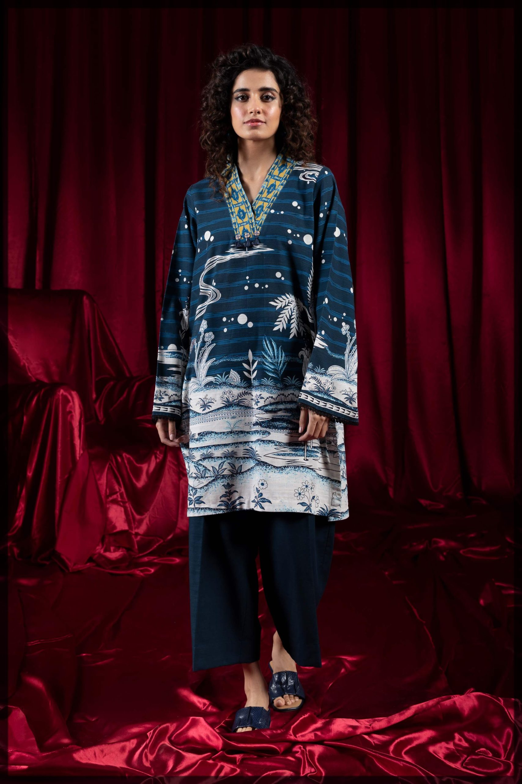 blue two-piece printed khaddar suit