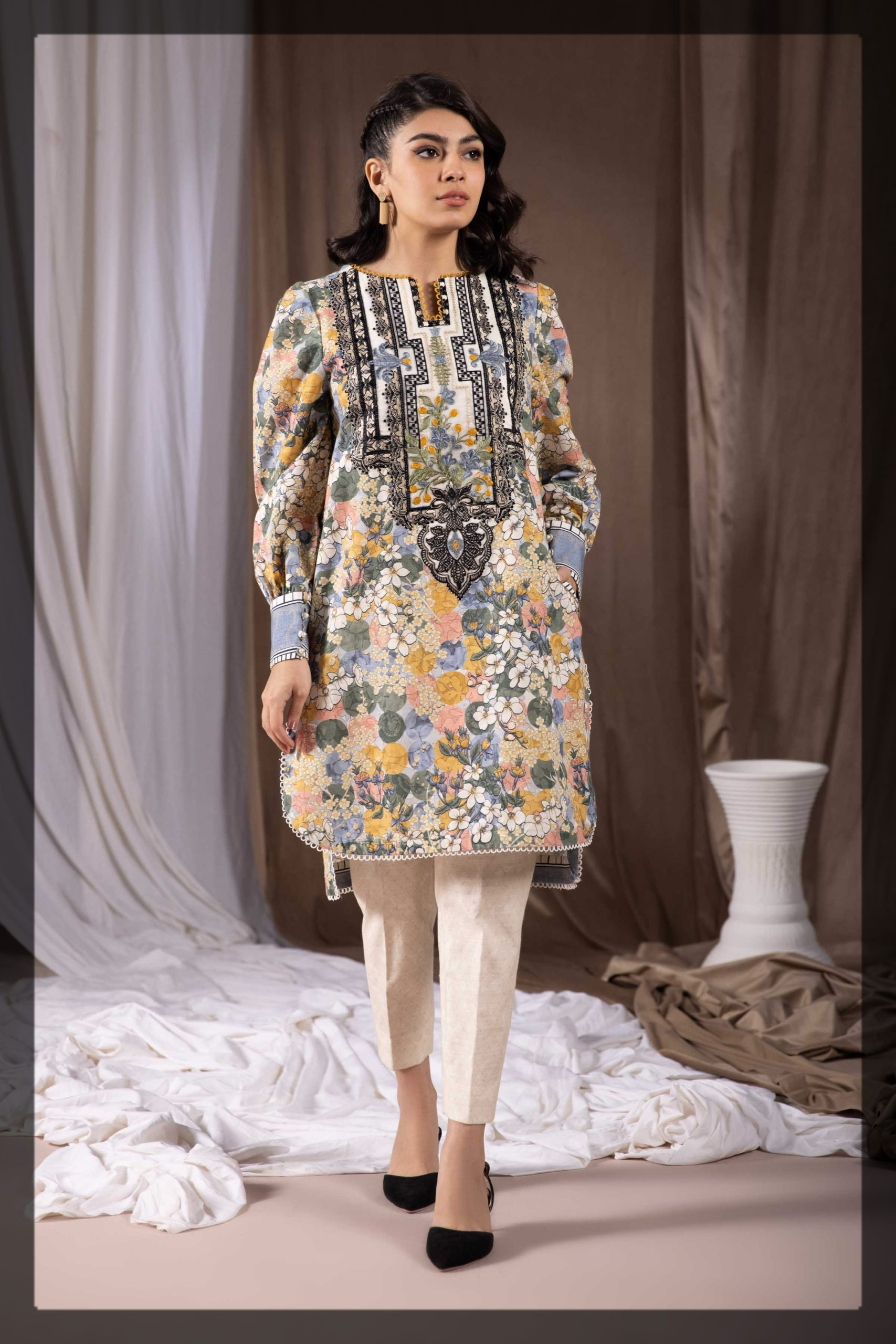 multi-colored khaddar embroidered dress